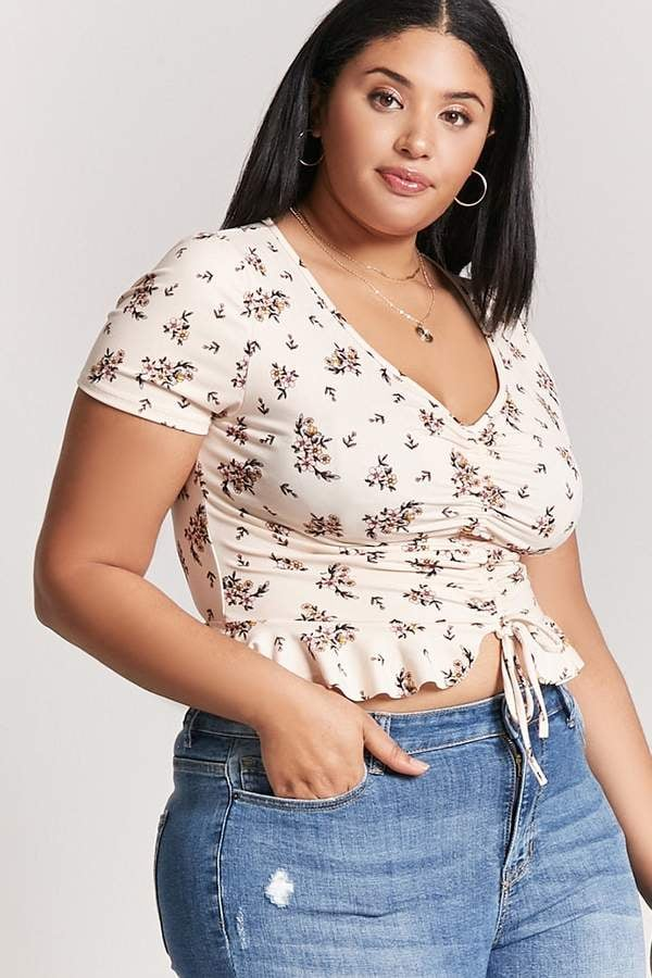 09519f893f3ed Forever 21 Plus-Size Floral Ruched Top