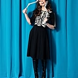 Black Skeleton Bones Graves Swing Dress