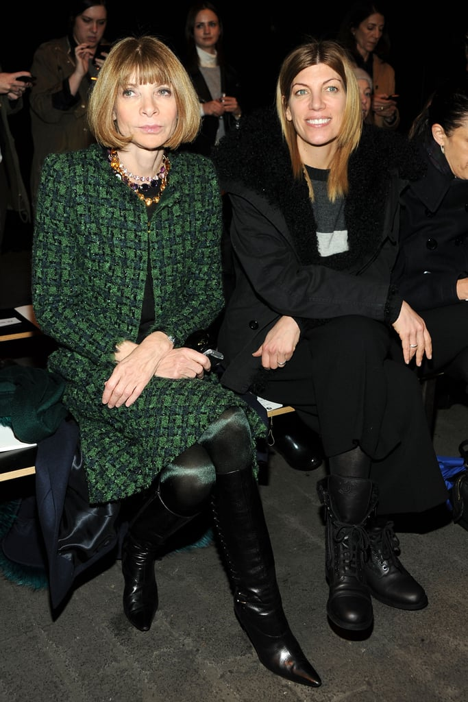Anna Wintour checked out the Rag & Bone show in a green plaid skirt suit and black knee-high boots.