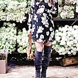 A Printed Dress and Knee-High Boots
