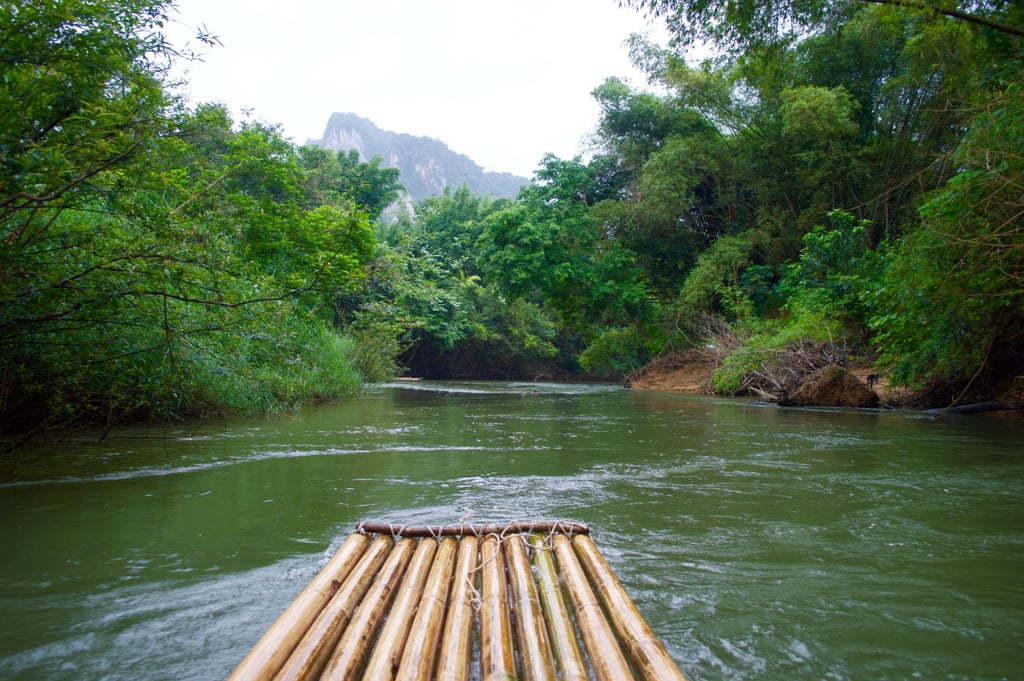 Take a bamboo raft down the river