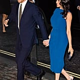 In September 2018, Meghan accompanied Prince Harry for the 100 Days of Peace concert in London. She styled this Jason Wu midi with Aquazzura heels and a Dior clutch.