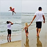 Jessica Simpson's husband, Eric Johnson, tossed their daughter, Maxwell, high in the air at the beach. Source: Instagram user jessicasimpson