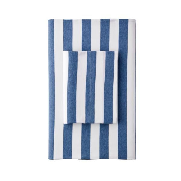 The Company Store Awning Stripe Jersey Knit Queen Flat Sheet