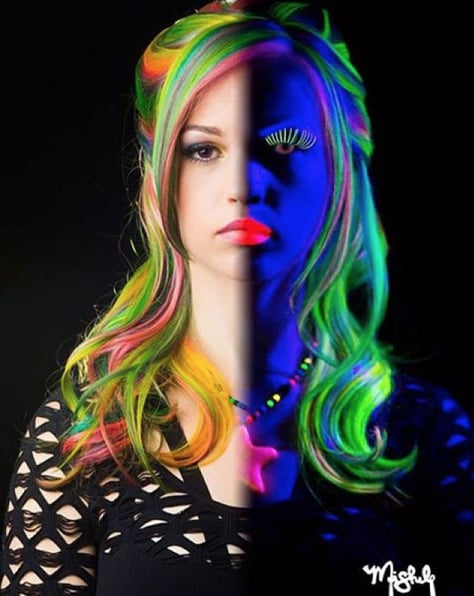 Glow In The Dark Hair And Makeup Glow In The Dark Rainbow Hair Popsugar Beauty Photo 7