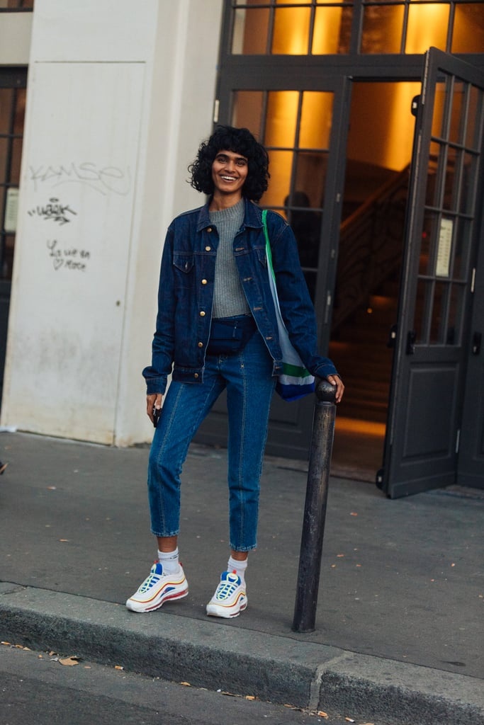 Go dad-chic by pairing chunky sneakers and ankle socks with cropped jeans and a denim jacket.
