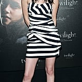 For Twilight's December 2008 Paris photocall, the actress went back to basics in a striped Camilla and Marc strapless.
