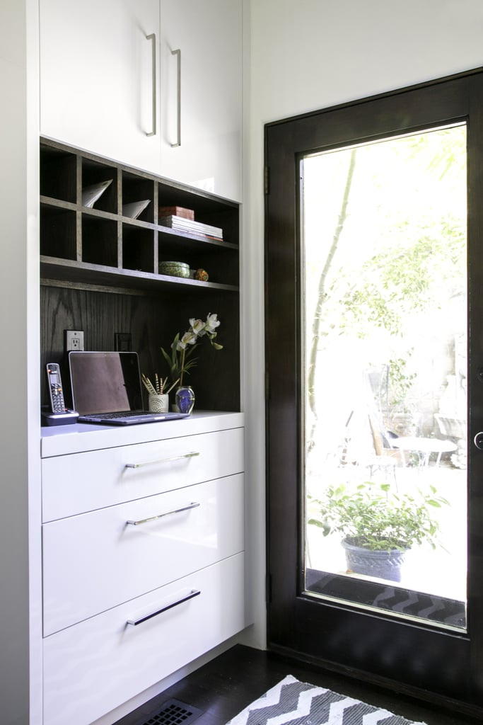 There are plenty of nooks and crannies in these entryway cabinets to stash away mail, keys, and other trinkets that can create clutter.