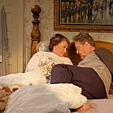 Roseanne and Dan cuddle in the same bed they had in the original show.