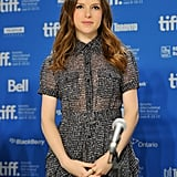 Anna Kendrick prepared to take questions at the Toronto Film Festival.