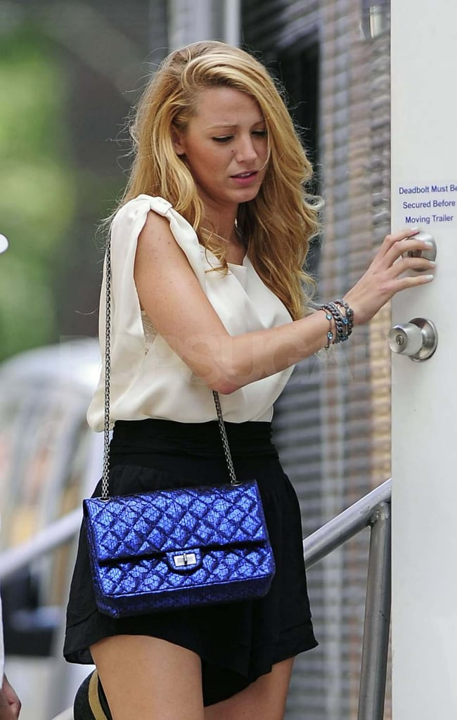 Blake Lively on the set of Gossip Girl.