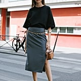 Style a Black Pair With a Midi Skirt and Top