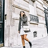 Your White Dress From the Summer With Sleek Leather Boots and a Jacket