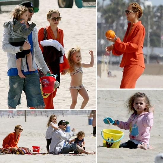 Nicole Richie and Joel Madden With Harlow at the Beach