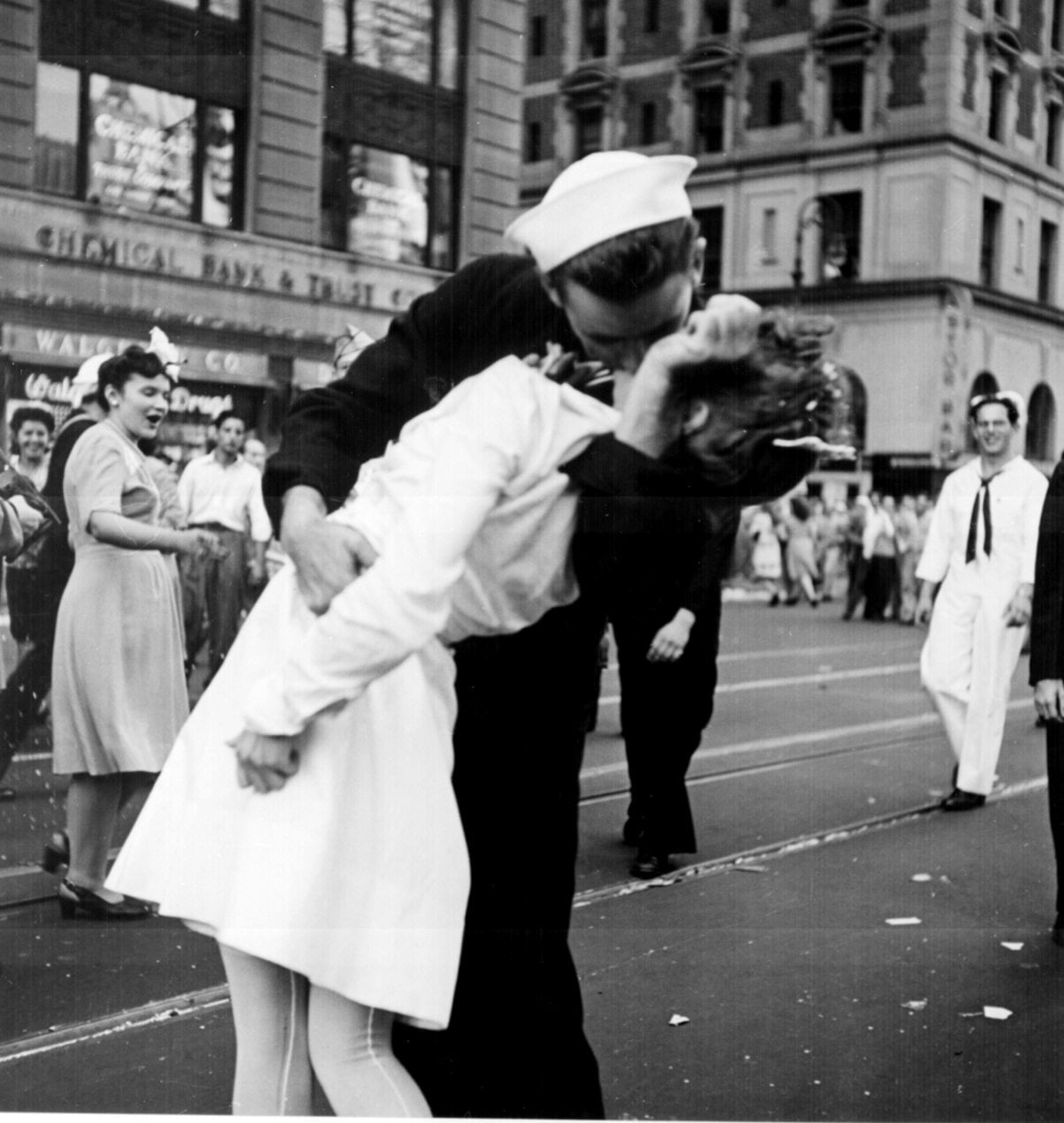 An American sailor kissed a young nurse in this iconic photo from V-J Day in Times Square in NYC on Aug. 14, 1945.