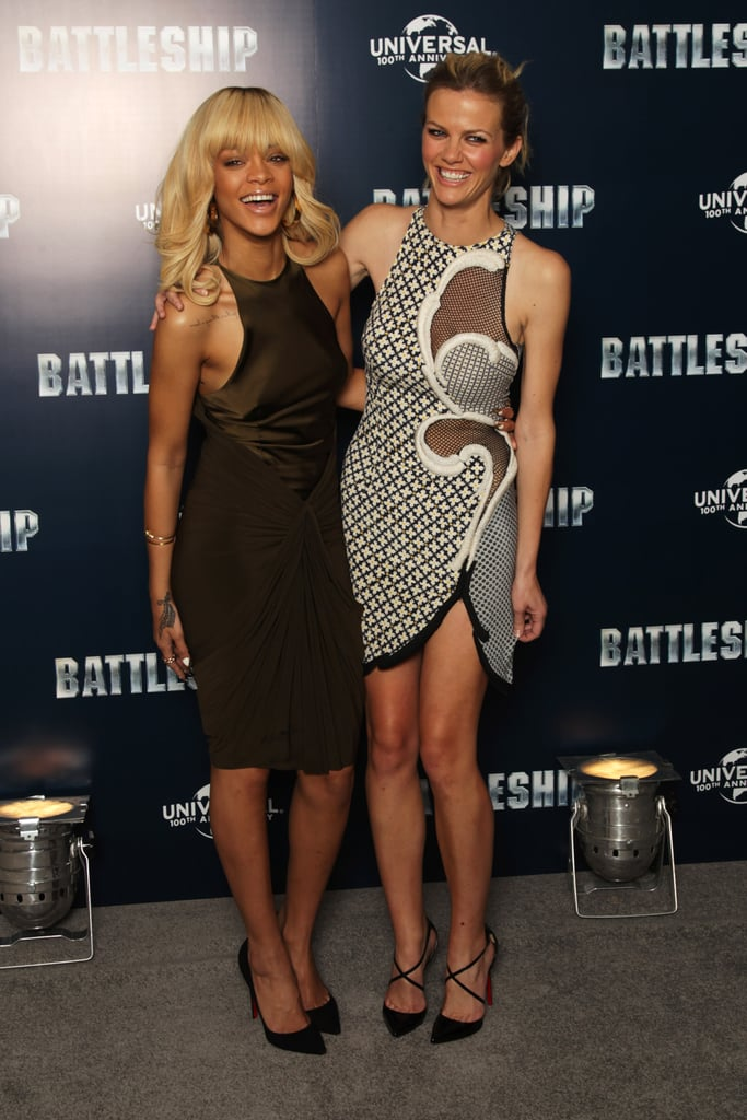 Brooklyn Decker and Rihanna giggled together at a photocall for Battleship in London.