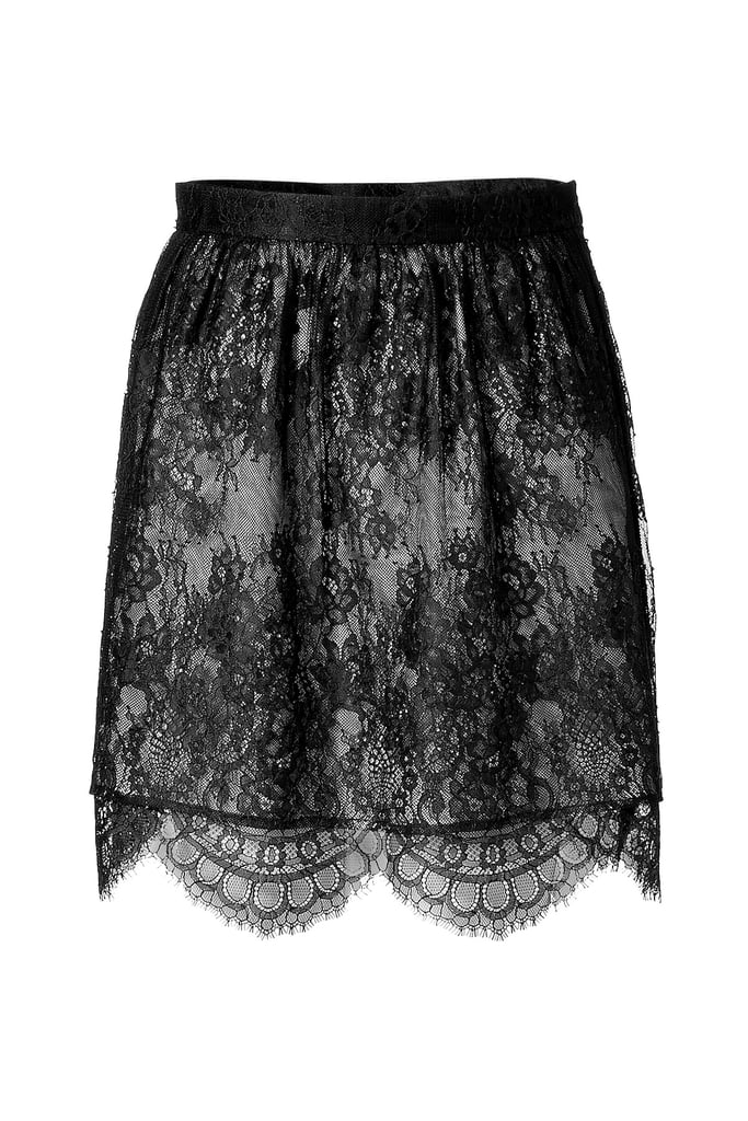 We'd pair this black lace skirt with a neon top for a new twist on ladylike cool.  Tibi Black Imperial Lace Skirt ($340)