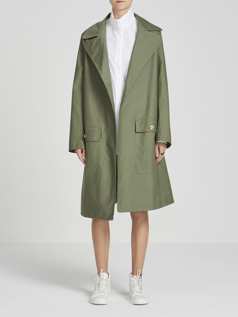 Stretch Cotton Trench Coat, $695