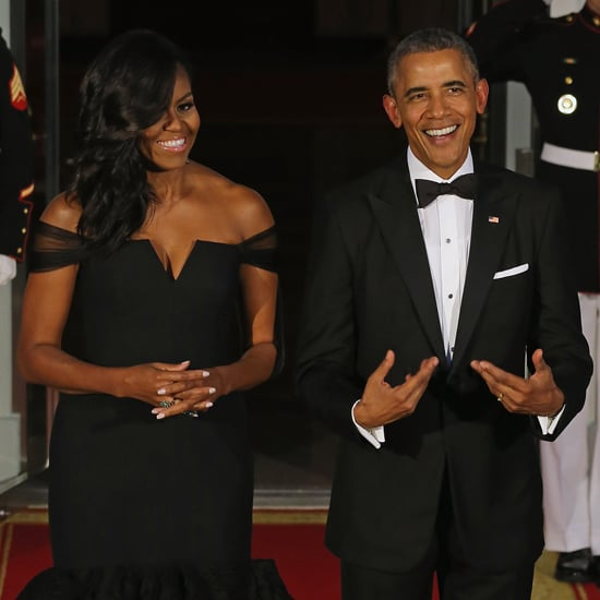 Michelle Obama Wearing Black Vera Wang Dress