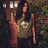 Rachel Roy celebrated Earth Day in a cool peace sign tank top and gold collar necklace. Source: Instagram user rachel_roy