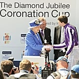 Queen Elizabeth II presented the Diamond Jubilee Coronation Cup to jockey Joseph O'Brien, trainer Aidan O'Brien, and owners Derrick Smith, John Magnier, and Michael Tabor.