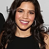Bronze shadow, pink lipstick, and waves were a winning beauty formula for America Ferrera.