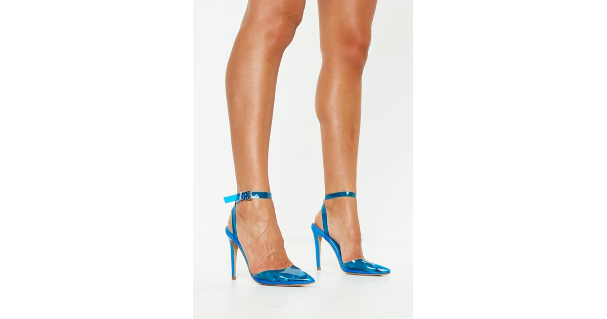 375edd408c1 Missguided Blue Clear Ankle Strap Court Shoes | Kim Kardashian Blue ...