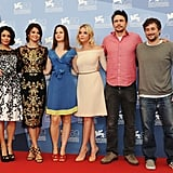 Selena Gomez, Vanessa Hudgens, Rachel Korine, Ashley Benson, James Franco, and Harmony Korine stepped out at the Venice Film Festival for the Spring Breakers photocall.