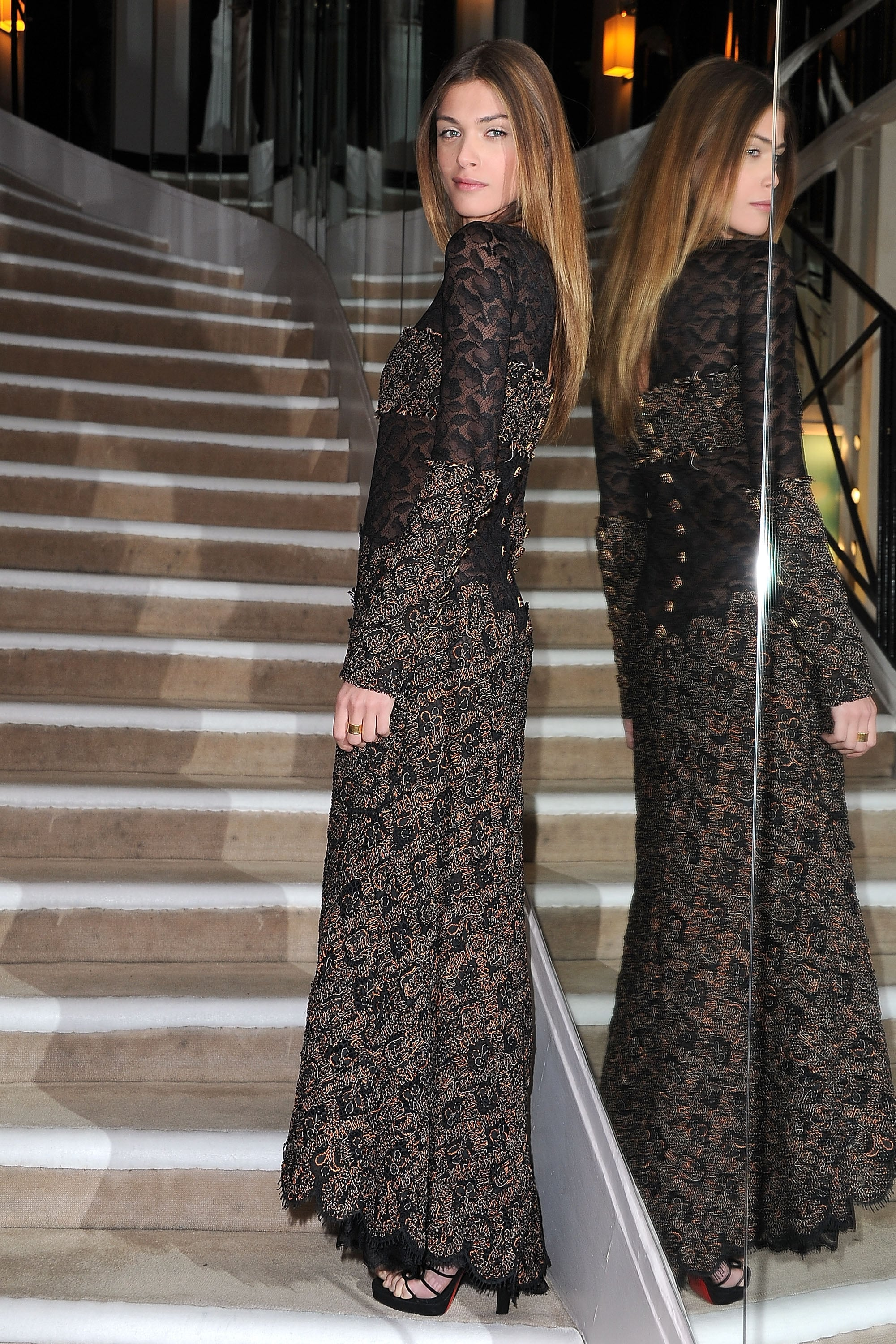 Elisa Sednaoui's form fitting maxi was a picture of elegance.