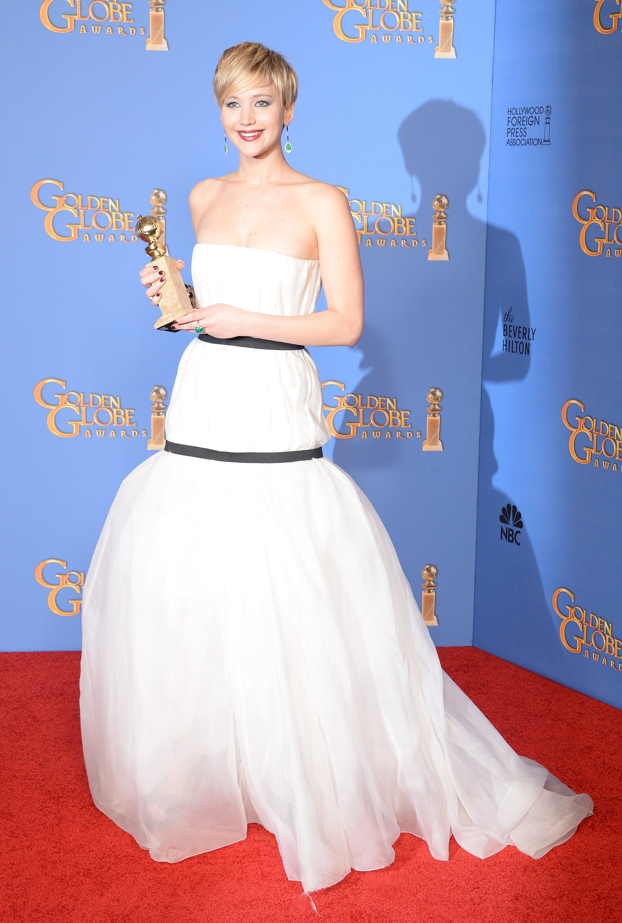When Jennifer won best supporting actress for her role in American Hustle at the 71st annual Golden Globes, she wore this double-banded Dior gown, which stirred up the Internet and resulted in yet another meme for the star.