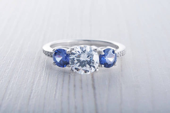 Etsy Natural London Blue Topaz and Lab Diamond Trilogy Ring