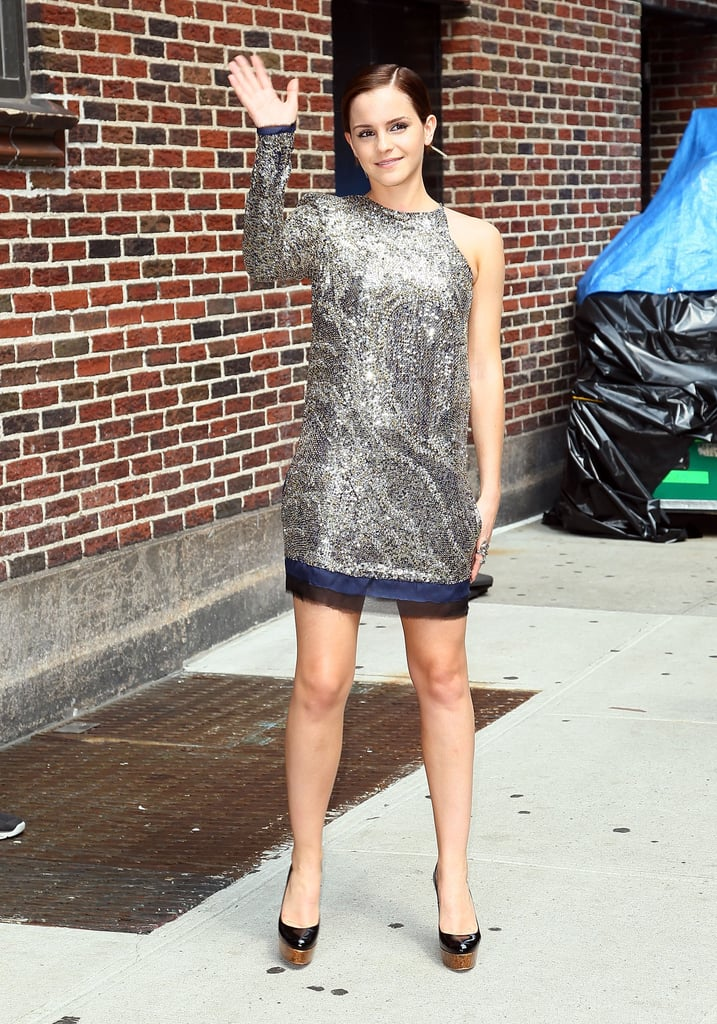 Emma Watson arrived at The Late Show studios in NYC today wearing a short and sparkly Balmain minidress. It's been a big day for the actress who kicked things off this morning with a visit to the Today Show, and immediately following her Letterman appearance, she made her way to Lincoln Center for tonight's Harry Potter and the Deathly Hallows Part 2 premiere — join us as we stream LIVE coverage from the red carpet! Emma and her costars arrived in the States over the weekend following Thursday night's world premiere of the film. We had the chance to talk with Emma and the cast yesterday at the junket where Emma shared how she handles fame and what's next in her college career.