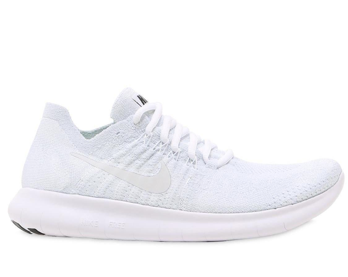 clean white flyknit shoes