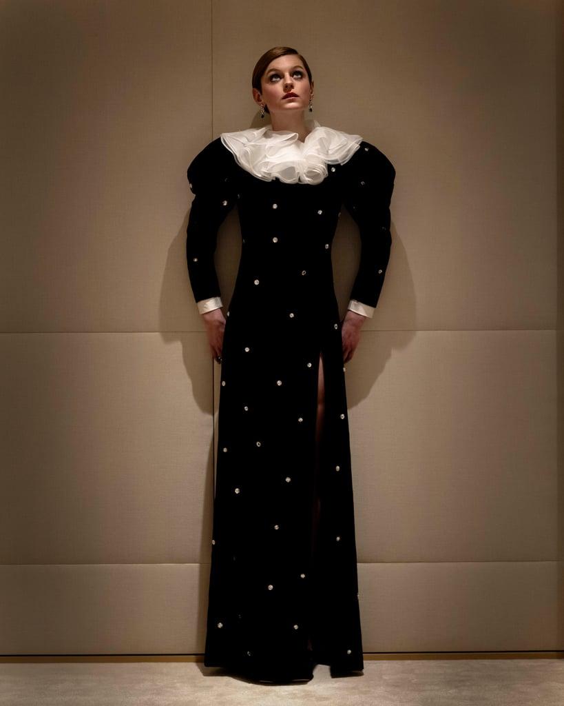 Emma Corrin's Velvet Miu Miu Dress at the Golden Globes