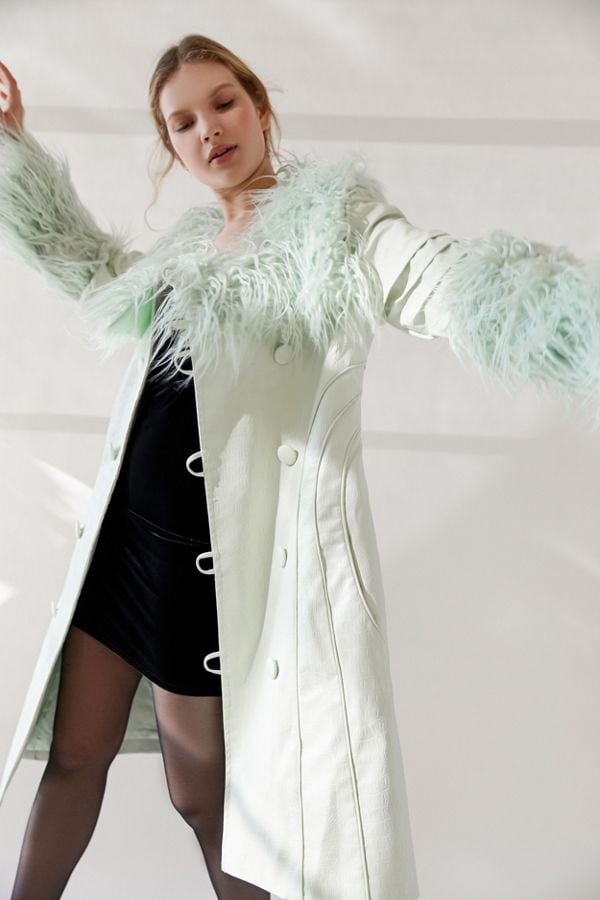 House of Sunny Pistachio Faux Leather Penny Coat