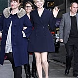 On her way into David Letterman's studios in NYC, Michelle Williams waved in a navy blazer dress from the Christian Dior Spring 2013 collection and black Christian Louboutin platform pumps.
