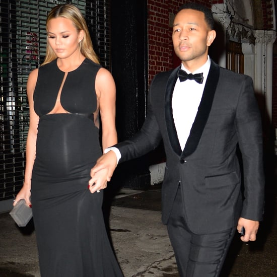 Chrissy Teigen Wearing a Long Black Dress