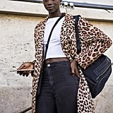 Style Your Leopard-Print Coat With: A Cropped Tee, Jeans, and a Beret