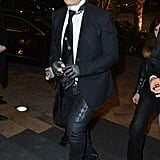 Karl Lagerfeld arrived at the CR Fashion Book launch party on Tuesday night.