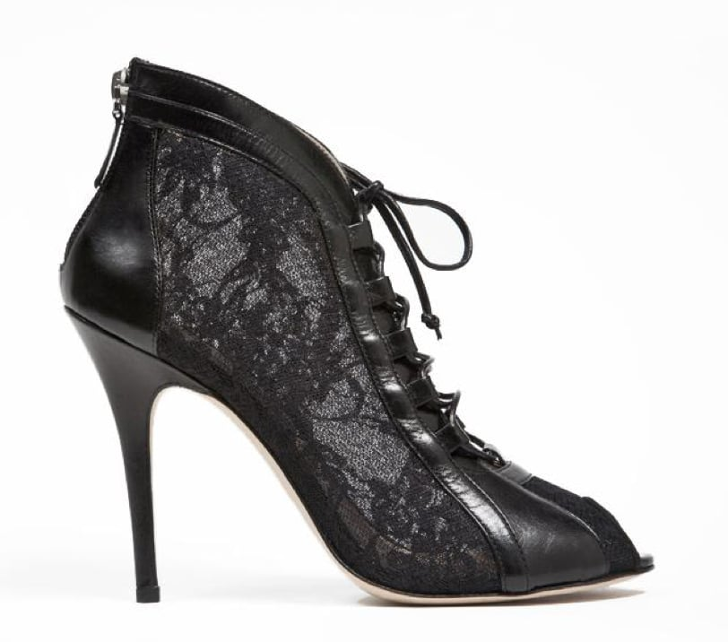 Monique Lhuillier Black Lace Over Mesh Bootie ($895)