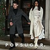 Priyanka Chopra Silk Dress and Sock Boots With Nick Jonas