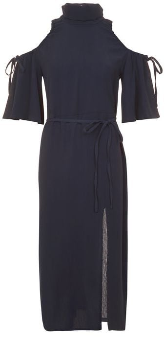 Navy is the new black and the high-neck style is in, which is why this dress is right on trend ($95).