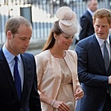 Prince Harry joined Kate Middleton and Prince William for the service.
