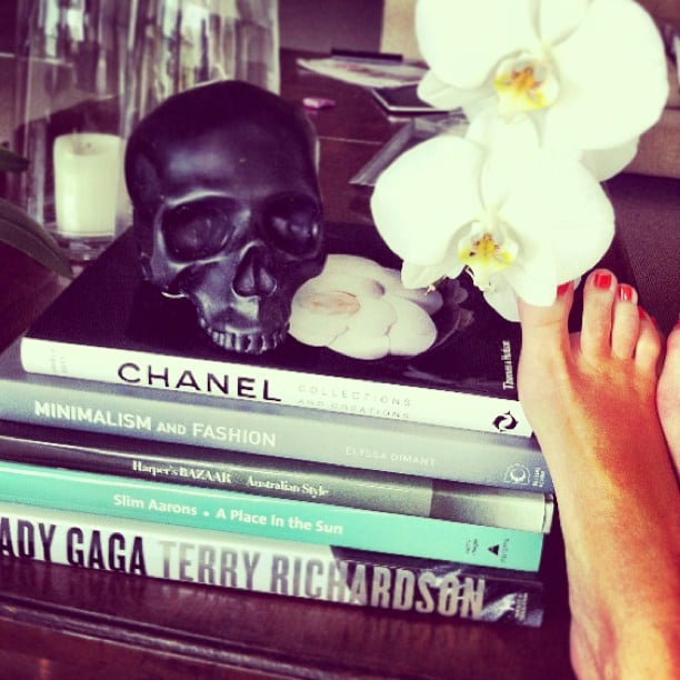 Kate Waterhouse displayed her enviable stack of fashion tomes — and a perfectly pedicured foot! Source: Instagram user katewaterhouse7