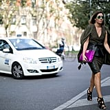 Check out the leather peplum in this sleek street style moment.