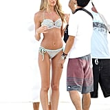 Candice Swanepoel was shooting a Victoria's Secret catalog in St. Barts.