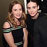 Emily Blunt got together with Rooney Mara, who hosted the Vanity Fair and Barneys New York event for OXFAM at the Chateau Marmont.