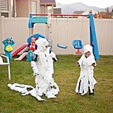 Toilet Paper Mummy Relay Race