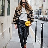 Mix Leather Track Pants With a Furry Coat