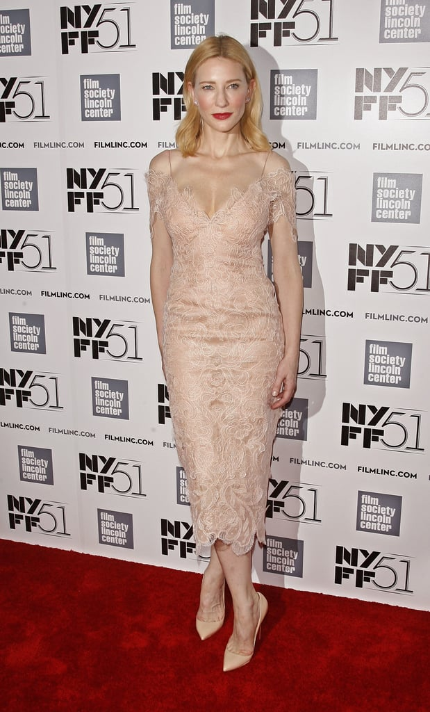 When you're the guest of honor, you owe it to everyone to look simply smashing. Cate Blanchett didn't disappoint at her own tribute gala at the New York Film Festival, opting for a monochromatic look with a delicate custom Giorgio Armani Privè lace dress and Christian Louboutin pumps.